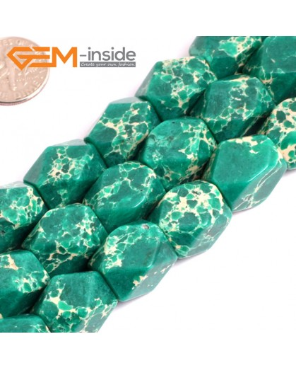 "G15487 13x18mm Column Faceted  Dark Green Sea Sediment Jasper Beads Dyed Gemstone 15"" Stone Beads for Jewelry Making Wholesale"