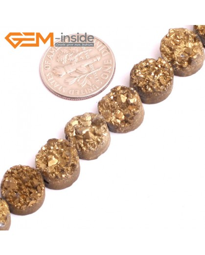 "G15523 10mm Coin Crude Rough Cabochon Metallic Titanium Gold Drusy Druz Quartz Crystal Amethyst Gemstone Strand 8"" Stone Beads for Jewelry Making Wholesale"