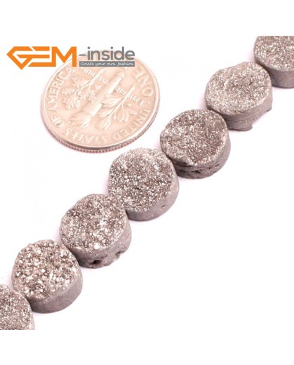 "G1552710mm Coin Crude Rough Cabochon Metallic Titanium Gray Grey Silver Drusy Druz Quartz Crystal Amethyst Gemstone Strand 8"" Stone Beads for Jewelry Making Wholesale"