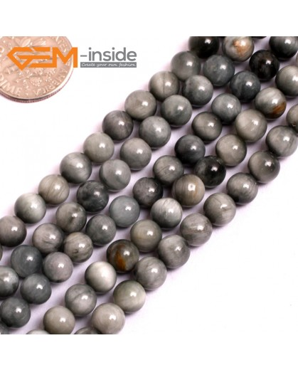 "G15553 6mm Round Natural Gray Blue Hawk Eye Gemstone Strand 15"" Natural Stone Beads for Jewelry Making Wholesale"