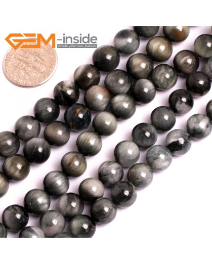 """G15554 8mm Round Natural Gray Blue Hawk Eye Gemstone Strand 15"""" Natural Stone Beads for Jewelry Making Wholesale"""