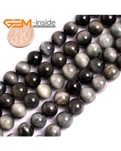 """G15555 10mm Round Natural Gray Blue Hawk Eye Gemstone Strand 15"""" Natural Stone Beads for Jewelry Making Wholesale"""