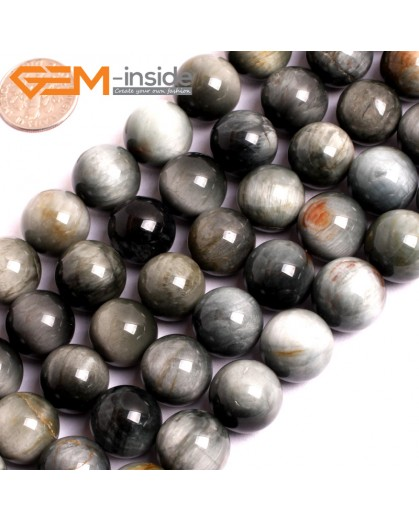 "G15557 14mm Round Natural Gray Blue Hawk Eye Gemstone Strand 15"" Natural Stone Beads for Jewelry Making Wholesale"