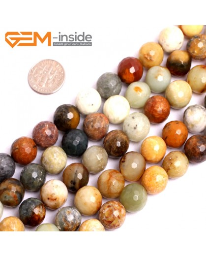 "G15619 12mm Round Faceted Mutil-Color Natural Nephrite huashow Jade Beads Gemstone Strand 15"" Natural Stone Beads for Jewelry Making Wholesale"