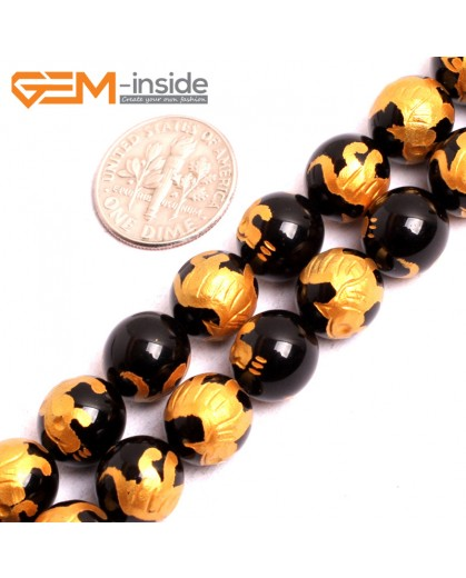 "G15638 10mm Round Natural Onyx  Black  Agate Carved Golden Baihu Tiger Buddha Mala Lucky Stone Strand 15"" Natural Stone Beads for Jewelry Making Wholesale"