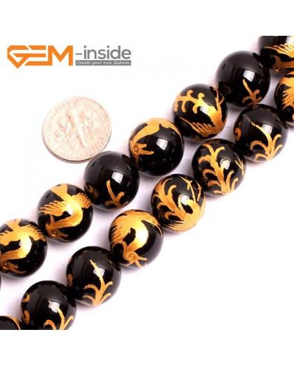 "G15642 14mm Round Natural Onyx Black Agate Carved Golden ZhuQue Phonix Buddha Mala Lucky Stone Strand 15"" Natural Stone Beads for Jewelry Making Wholesale"
