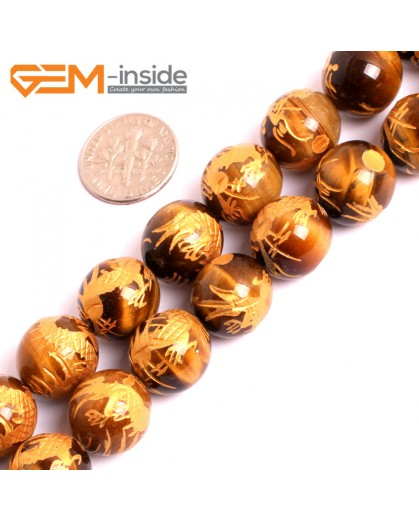 """G15648 14mm Round Natural Yellow Tiger Eye Carved Golden QingLong Dragon Buddha Mala Lucky Stone Strand 15"""" Natural Stone Beads for Jewelry Making Wholesale"""