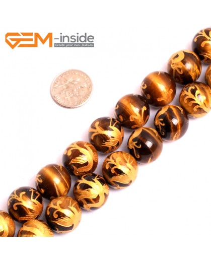 "G15650 14mm Round Natural Yellow Tiger Eye Carved Golden XuanWu Tortoise Buddha Mala Lucky Stone Strand 15"" Natural Stone Beads for Jewelry Making Wholesale"
