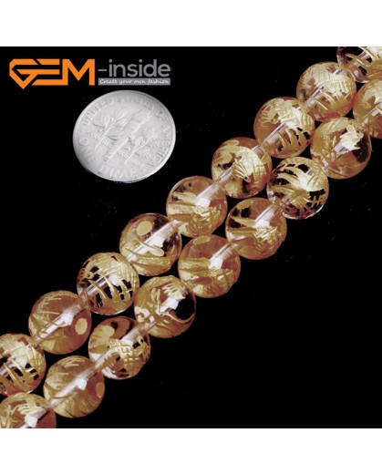 "G15652 10mm Round White Clear Rock Crystal Quartz Carved Golden QingLong Dragon Buddha Mala Lucky Stone Strand 15"" Natural Stone Beads for Jewelry Making Wholesale"