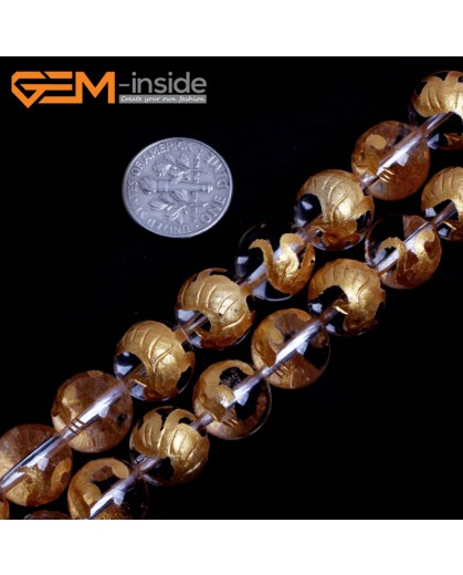 "G15657 12mm Round White Clear Rock Crystal Quartz Carved Golden BaiHu Tiger Buddha Mala Lucky Stone Strand 15"" Natural Stone Beads for Jewelry Making Wholesale"