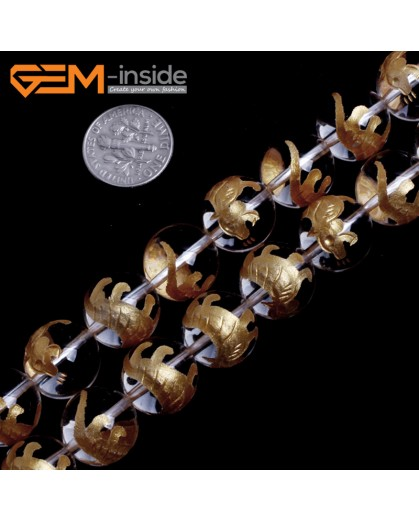 "G15661 14mm Round White Clear Rock Crystal Quartz Carved Golden BaiHu Tiger Buddha Mala Lucky Stone Strand 15"" Natural Stone Beads for Jewelry Making Wholesale"
