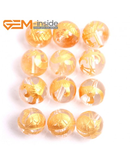 G15673 12mm Round White Clear Rock Quartz Carved Golden XuanWu Tortoise Dragon ZhuQue Phonix  QingLong Dragon BaiHu Tiger Mixed  Buddha Mala Lucky Stone 4 Pcs Natural Stone Beads for Jewelry Making Wholesale