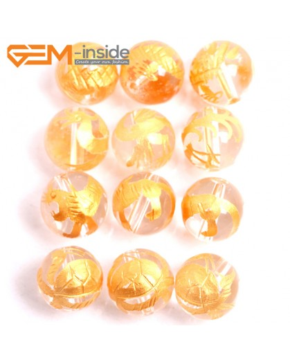 G15674 14mm Round White Clear Rock Quartz Carved Golden XuanWu Tortoise Dragon ZhuQue Phonix  QingLong Dragon BaiHu Tiger Mixed  Buddha Mala Lucky Stone 4 Pcs Natural Stone Beads for Jewelry Making Wholesale