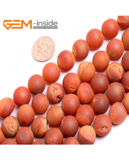 "G15706 12mm Round Orange Druzy Drusy Metallic Coated Geode Quartz Agate Strand 15"" Stone Beads for Jewelry Making Wholesale"