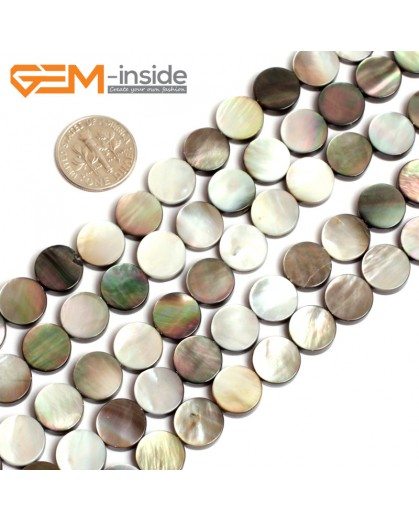 """G15707 10mm Flat Coin Natural Black Lip Shell Beads Black Rainbow Luster Strand 15"""" Natural Stone Beads for Jewelry Making Wholesale"""