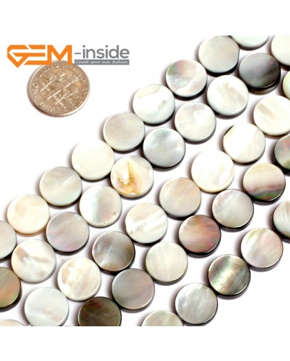 "G15708 12mm Flat Coin Natural Black Lip Shell Beads Black Rainbow Luster Strand 15"" Natural Stone Beads for Jewelry Making Wholesale"