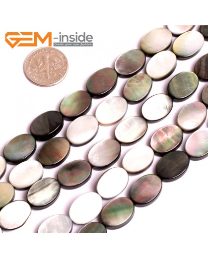 "G15711 10x14mm Flat Oval Natural Black Lip Shell Beads Black Rainbow Luster Strand 15"" Natural Stone Beads for Jewelry Making Wholesale"