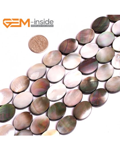 """G15712 13x18mm Flat Oval Natural Black Lip Shell Beads Black Rainbow Luster Strand 15"""" Natural Stone Beads for Jewelry Making Wholesale"""