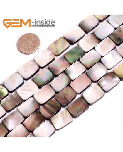 """G15715 10x14mm Flat Rectangle Natural Black Lip Shell Beads Black Rainbow Luster Strand 15"""" Natural Stone Beads for Jewelry Making Wholesale"""