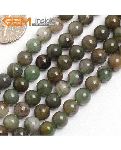 "G15747 6mm Round Africa Jade Jadeite Strand 15"" Natural Stone Beads for Jewelry Making Wholesale"