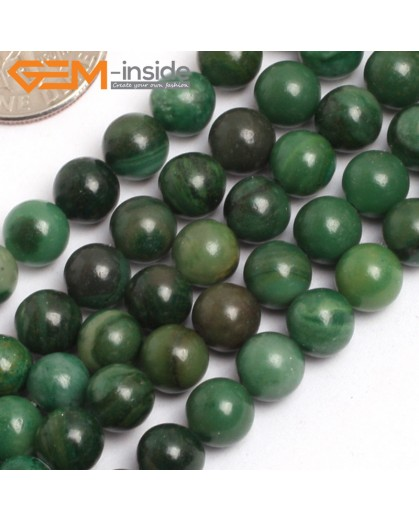 "G15750 6mm Round Green Africa Jade Jadeite Strand 15"" Natural Stone Beads for Jewelry Making Wholesale"