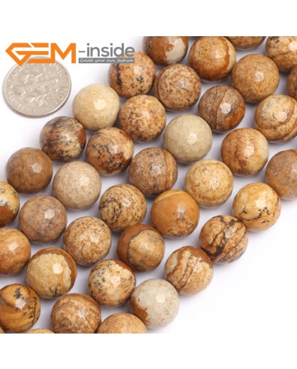 """G15765 12mm Round Faceted Natural Picture Jasper Strand 15"""" Natural Stone Beads for Jewelry Making Wholesale"""