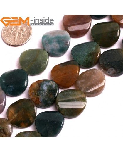 """G15815 16mm Coin Twisted Natural Indian Agate Stone Strand 15"""" Natural Stone Beads for Jewelry Making Wholesale"""