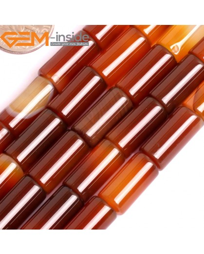 "G15867 8x16mm Column Tube Natural Red Carnelian Agate Strand 15"" Natural Stone Beads for Jewelry Making Wholesale"
