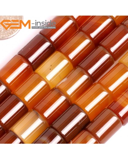 """G15868 10x12mm Column Tube Natural Red Carnelian Agate Strand 15"""" Natural Stone Beads for Jewelry Making Wholesale"""