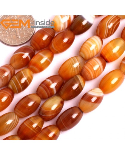 "G15884 8x12mm Olivary Rice Natural Persian Striped Botswana Agate Strand 15"" Natural Stone Beads for Jewelry Making Wholesale"