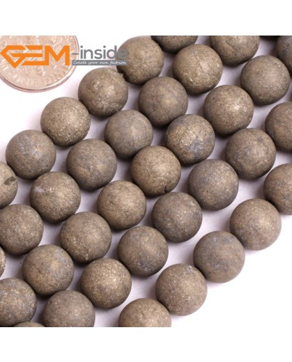 """G15927 10mm Round Frost Matte Natural Pyrite Stone Beads 15"""" Natural Stone Beads for Jewelry Making Wholesale"""