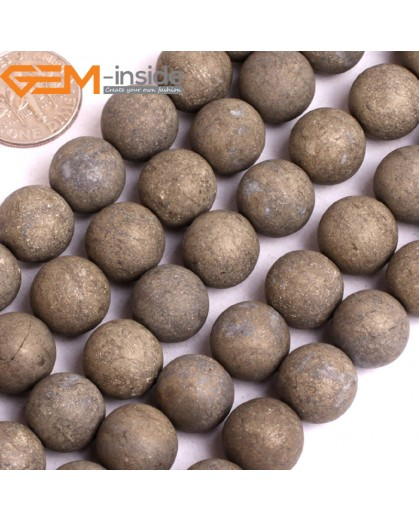 "G15928 12mm Round Frost Matte Natural Pyrite Stone Beads 15"" Natural Stone Beads for Jewelry Making Wholesale"