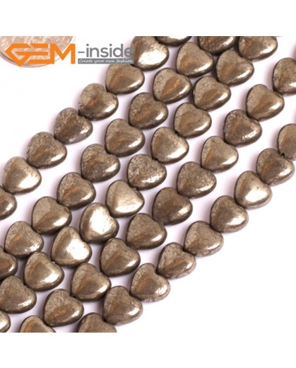 "G15936 8mm Heart Natural Silver Pyrite Stone Beads 15"" Natural Stone Beads for Jewelry Making Wholesale"
