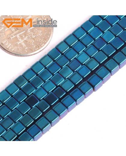 "G15976 3mm Cube Blue Metallic Coated Hematite Beads Stone 15"" Stone Beads for Jewelry Making Wholesale"