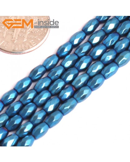 "G15989 3x5mm Rice Faceted Blue Metallic Coated Hematite Beads Stone 15"" Stone Beads for Jewelry Making Wholesale"