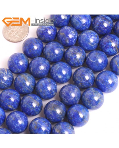 "G16034 14mm Round Natural Blue Lapis lazuli  Gemstone Loose Beads 15"" Natural Stone Beads for Jewelry Making Wholesale"
