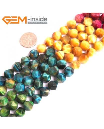 "G16077 10mm Round Mutil-Color Tiger Eye Dye Color Loose Beads 15"" Stone Beads for Jewelry Making Wholesale"