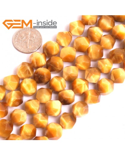 "G16081 10mm Round Faceted Natural Gold Yellow Tiger Eye Loose Beads 15"" Natural Stone Beads for Jewelry Making Wholesale"