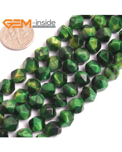 "G16087 6mm Round Faceted Green Tiger Eye Dyed Color Loose Beads 15"" Stone Beads for Jewelry Making Wholesale"