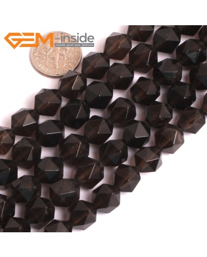 """G16121 10mm Round Faceted Smoky Quartz Crystal Gemstone Loose Beads Strand 15"""" Natural Stone Beads for Jewelry Making Wholesale"""
