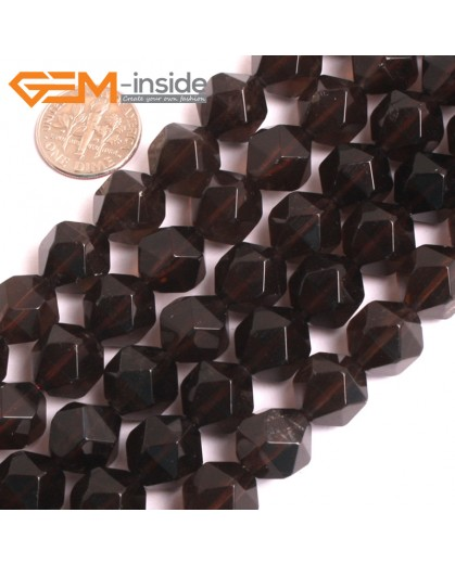 """G16122 12mm Round Faceted Smoky Quartz Crystal Gemstone Loose Beads Strand 15"""" Natural Stone Beads for Jewelry Making Wholesale"""