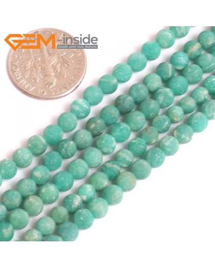 "G16139 4mm Round Matte Frosted Ruassian Amazonite Loose Beads Gemstone Strand 15"" Natural Stone Beads for Jewelry Making Wholesale"