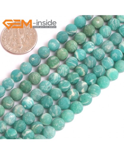 "G16140 6mm Round Matte Frosted Ruassian Amazonite Loose Beads Gemstone Strand 15"" Natural Stone Beads for Jewelry Making Wholesale"
