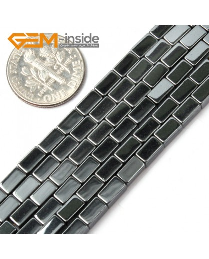 "G1703 4x6mm Rectangle Black Hematite Beads Strand 15""Jewelry Making Gemstone Loose Beads  Natural Stone Beads for Jewelry Making Wholesale"
