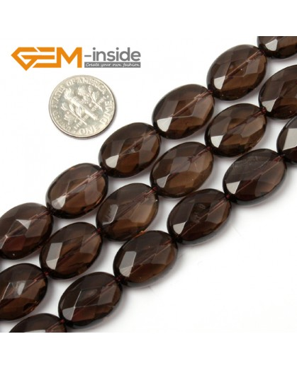 "G1758 13x18mm (Faceted) Oval Drop Gemstone Smooth Faceted Smoky Quartz Jewelry Making Loose Beads 15"" Natural Stone Beads for Jewelry Making Wholesale"