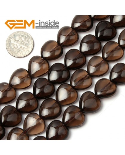 "G1800 12mm Dark Natural Gemstone Heart Shape Smoky Quartz Stone Beads Strand 15"" Jewelry Making Natural Stone Beads for Jewelry Making Wholesale`"