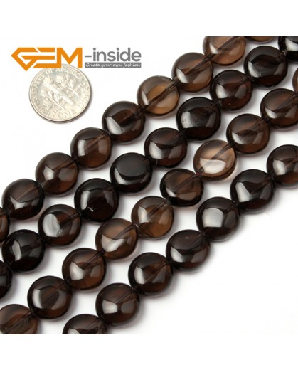 "G1803 12mm (Dark) Natural Coin  Smoky Quartz Beads Strand 15""Jewelry Making Gemstone Beads Natural Stone Beads for Jewelry Making Wholesale"