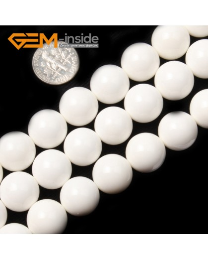 "G2000 14mm Round Smooth White Shell Gemstone Stone Beads Jewelry Making Loose Beads 15"" Natural Stone Beads for Jewelry Making Wholesale`"