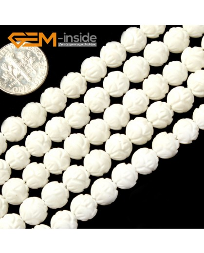 "G2005 7mm-Carved Flower Carved White Shell Beads Gemstone Beads DIY Jewelry Making Beads 15"" Natural Stone Beads for Jewelry Making Wholesale`"