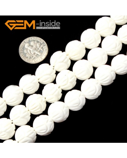 """G2007 12mm-Carved  Flower Carved White Shell Beads Gemstone Beads DIY Jewelry Making Beads 15"""" Natural Stone Beads for Jewelry Making Wholesale`"""